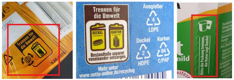 Entsorgungshinweise auf Verpackungen um Verpackungsmüll zu reduzieren
