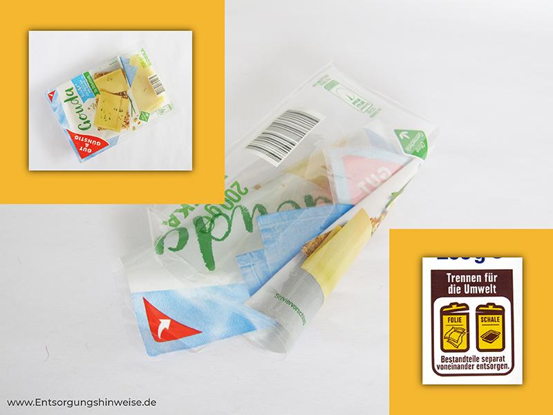 Käse Verpackungsmüll entsorgen mit Entsorgungshinweise