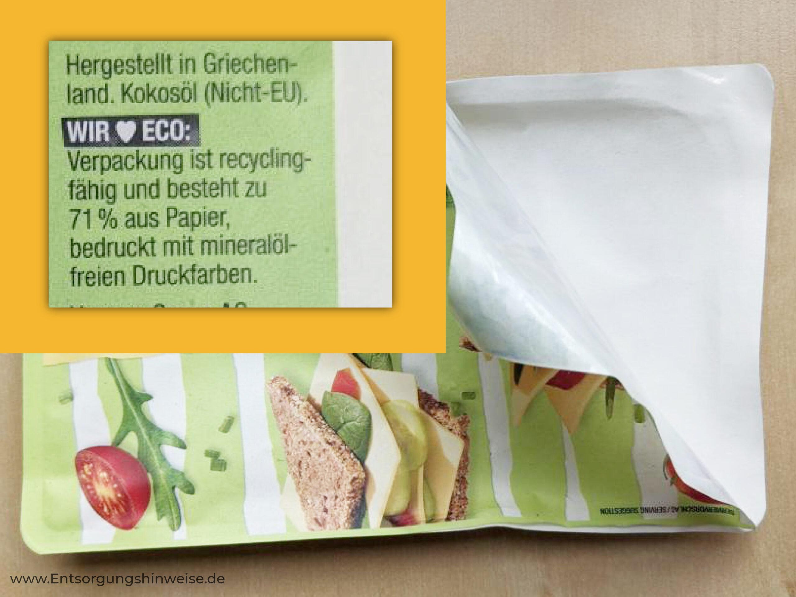Mischverpackung aus Papier und Kunststoff