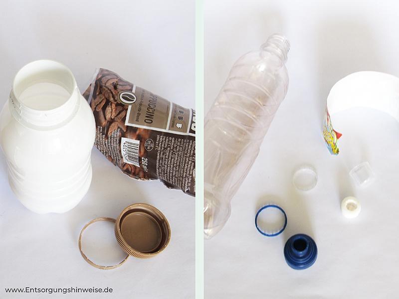 Verpackungsmüll entsorgen aus dem Supermarkt richtig getrennt mit Entsorgungshinweise