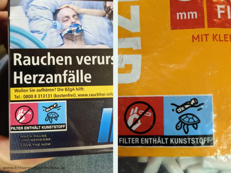 Zigarettenfilter enthält Kunststoff